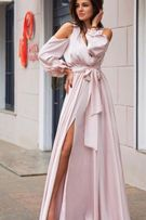 Длинное шелковое платье S