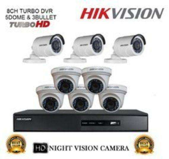 """Hikvision 8.0"""" Full HD 2.0MP 1080p DVR With CCTV Camera FULL PACKAGE 0"""