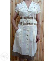 Летнее бежевое/коричневое платье-клеш на пуговицах с коротким рукавом