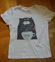 T-shirt bluzka Siedman L nadruk Coffee kawa kot