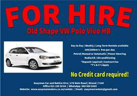 VW Polo Vivo HB (old shape) Manual/Auto for Hire
