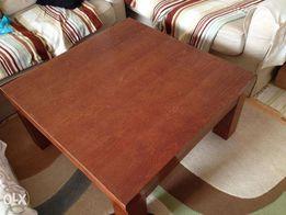 Ława - stół drewniany - 90/90/45 - brązowy masywny ciężki