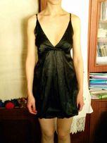 чёрное атласное платье тюльпан calliope, размер xs- s