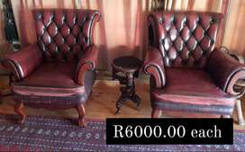 Genuine leather chairs and couche