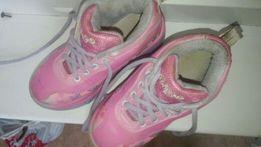 Ролики детские. Роликовые коньки для девочки розовые двойнные. скидка!