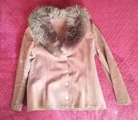 Vintage ladies leather jacket with fur collar for sale