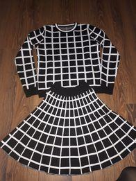 Komplet Chanel 36/S krata czarno biały Gucci dior Fendi zara pinko