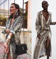 ZARA sukienka nadruk skóra węża wąż maxi długa blog blogerska S M