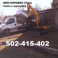Usługi Minikoparka-Iveco 3t- WIERTNICA- Kraków Wieliczka Niepołomice