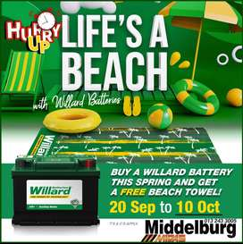 Buy a Willard Battery this spring & get a FREE beach towel!
