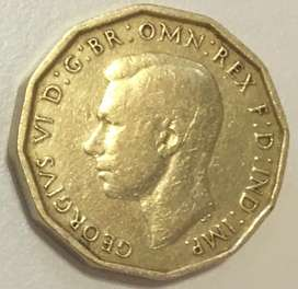 1942 3 pence George VI coin