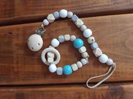 Baby teething ring and dummy clips