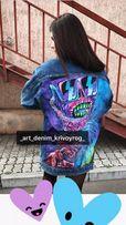 Эксклюзивная роспись на джинсовой куртке (Джинсовка,пиджак ,косуха)
