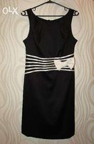 Атласное, нарядное, вечернее, черное платье. Размер - 42-44, S - M.