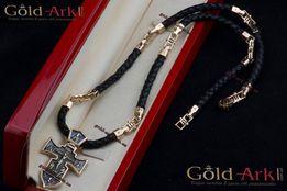 Кожаный шнур Baraka с золотыми вставками