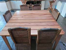 8 seater square wooden table and chairs