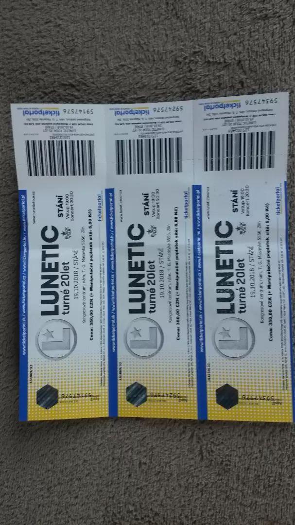 Prodám 3 lísty na LUNETIC turné 20let 0