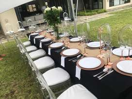 Chairs, tents, tables and decor services for hire.