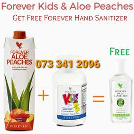 Purchase Forever Kids & Aloe Peaches get Free Aloe Hand Sanitizer