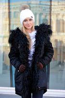 Зимняя женская куртка парка на меху черная (лама) Arvisa TM