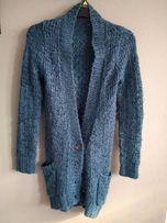 Kardigan morski niebieski Clockhouse sweter damski zimowy