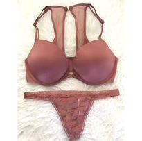 Victoria's Secret biustonosz stanik Pink bra 70D 32D push up stringi