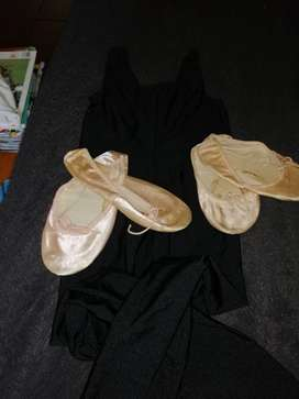 2x Teplov ballet shoes(3&5)&sleeveless long leg unitard (size8/12yrs)