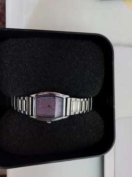 Silver Hallmark watch with pink face