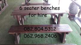 benches for hire - 6 seater - wooden