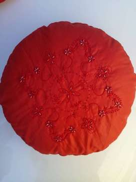 Embroidered round cushions