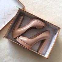Женские лаковые туфли с открытым носком, 36 размер