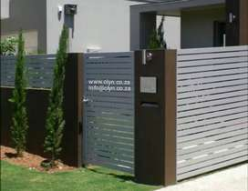 GALVANIZED STEEL FRAMED NUTEC SLATED GATES AND PALISADE FENCING