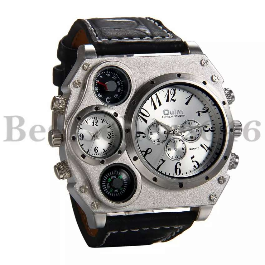 Men's Military Large Dial Black Leather Luxury Sport Dual Time Watch 0