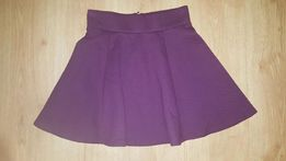 Fioletowa spódnica z suwakiem pikowana H&M