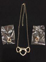 Набор украшений в золоте с камнями (цепочка, браслет, серёжки)