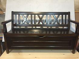 Скамейка, лавка деревянная с ящиком для вещей. Бамбетель