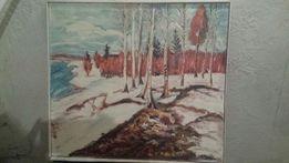 """Duży obraz olejny """"Pejzaż zimowy"""" 1979 rok"""