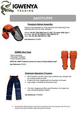Forestry Helmets / Chainsaw Operator pants / Zembe shin Pads
