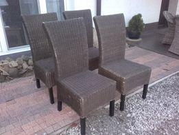 porządne krzesła ratanowe z dębową konstrukcją