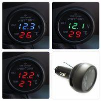 Зарядка USB 3в1 тестер/вольтметр/термометр в прикуриватель зарядное