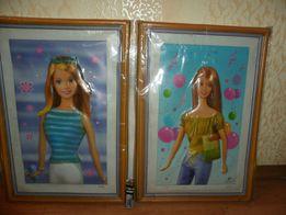 Кукла барби пластиковые картины в упаковке.,сзади картины есть скотч.
