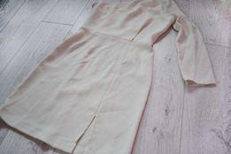 elegancka sukienka na imprezę mini XXS 32 ecru na studniówkę karnawał