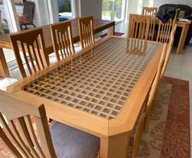 Solid beech Dining room table, server and chairs