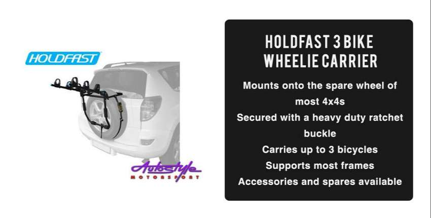 Holdfast 3 Bike Wheelie Carrier   Mounts onto the spare wheel of most 0