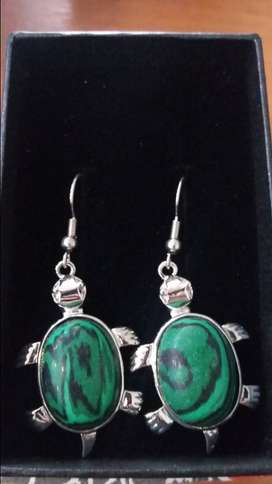 Sterling Silver Semi-Precious Stones Turtle Earrings