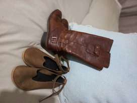 2x pairs of Size 39/6 ladies genuine leather shoes combo