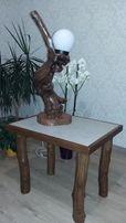 Деревянная скульптура-светильник ручной работы