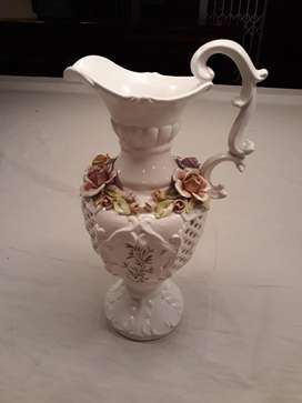 Vintage Cream Floral Capodimonte Multi colour Vase