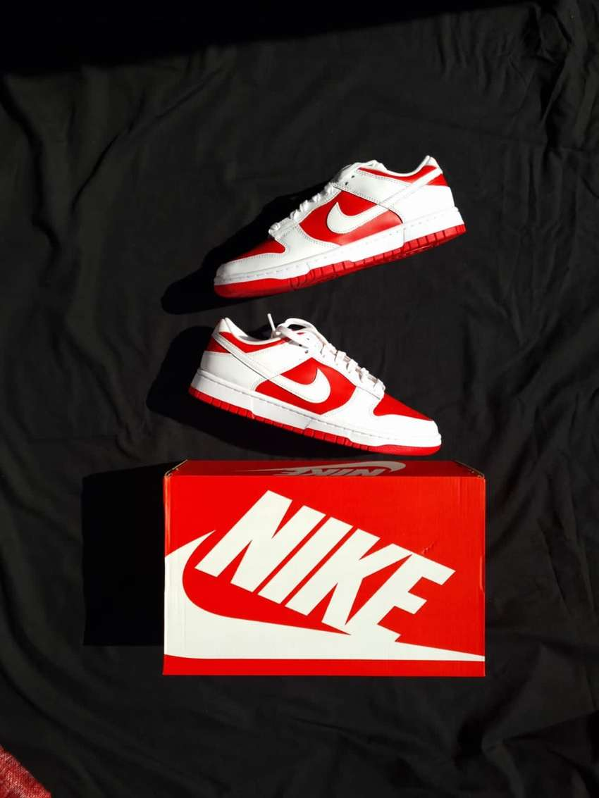 Nike Dunk Low. Championship Red. DS. UK8 and UK10 are available.