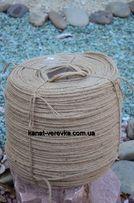 Канат джутовый 6 мм – 100 м, веревка джутовая декоративная, натуральна